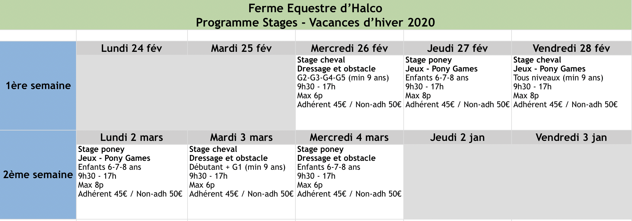 Stages - Hiver 2020